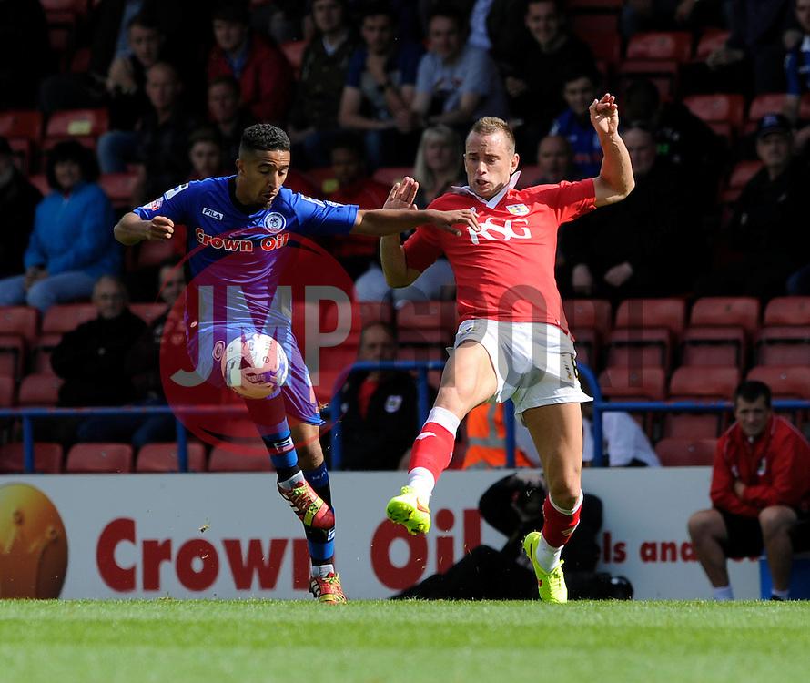 Bristol City's Aaron Wilbraham challenges Rochdale's Bastien Hery - Photo mandatory by-line: Dougie Allward/JMP - Mobile: 07966 386802 23/08/2014 - SPORT - FOOTBALL - Manchester - Spotland Stadium - Rochdale AFC v Bristol City - Sky Bet League One