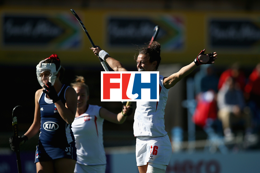 JOHANNESBURG, SOUTH AFRICA - JULY 20:  Marlena Rybacha of Poland celebrates scoring her sides first goal during the 9th/10th Place playoff match between Poland and Chile during Day 7 of the FIH Hockey World League - Women's Semi Finals on July 20, 2017 in Johannesburg, South Africa.  (Photo by Jan Kruger/Getty Images for FIH)