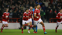 Eric Lichaj sets off in celebration after giving Forest the lead over Arsenal  during The Emirates FA Cup Third Round match between Nottingham Forest and Arsenal at City Ground on January 7, 2018 in Nottingham, England.