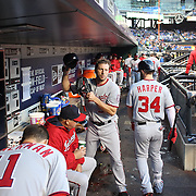 Pitcher Max Scherzer, Washington Nationals, heads from the dugout to pitch during the New York Mets Vs Washington Nationals MLB regular season baseball game at Citi Field, Queens, New York. USA. 1st May 2015. Photo Tim Clayton