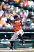 DETROIT, MI - MAY 21: Jose Altuve #27 of the Houston Astros bats during the game against the Detroit Tigers at Comerica Park on May 21, 2015 in Detroit, Michigan. The Tigers defeated the Astros 6-5 in 11 innings. (Photo by Joe Robbins) *** Local Caption *** Jose Altuve