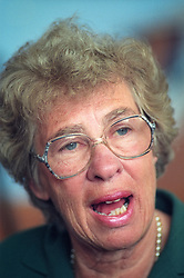Eva Schloss, born 11th May 1929, Holocaust survivor and stepsister of Anne Frank and Margot Frank, pictured during a visit to a school in Middlesbrough, UK, circa 1995.<br /> Photo: Ed Maynard<br /> 07976 239803<br /> www.edmaynard.com