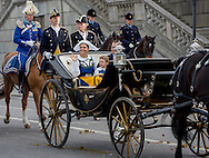 06-06-2016 <br /> <br /> King Carl Gustaf and Queen Silvia, Crown Princess Victoria and Prince Daniel, Prince Carl Philip and Princess Sofia and Princess Madeleine on their way to Skansen for the National Day celebrations.<br /> <br /> COPYRIGHT:ROYALPORTRAITS EUROPE/BERNARD RUEBSAMEN
