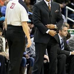 December 30, 2011; New Orleans, LA, USA; Phoenix Suns head coach Alvin Gentry talks to referee Jason Phillips (23) during the a game against the New Orleans Hornets at the New Orleans Arena. The Suns defeated the Hornets 93-78.   Mandatory Credit: Derick E. Hingle-US PRESSWIRE