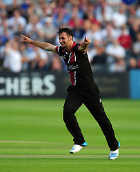 Lewis Gregory of Somerset celebrates after taking the wicket of Michael Klinger of Gloucestershire - Photo mandatory by-line: Dan Mullan/JMP - 07966 386802 - 16/05/2014 - SPORT - CRICKET - County Cricket Ground - Gloucester Cricket v Somerset Cricket - T20