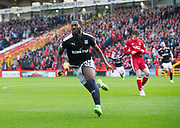 August 19th 2017, Pittodrie Stadium, Aberdeen, Scotland;  Scottish Premiership football, Aberdeen versus Dundee; Dundee's Roarie Deacon celebrates after scoring for 1-1