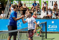 Aljaz Jakob Kaplja of Slovenia and Daniel Cox of Great Britain during 2nd Round of Qualifications of ATP Challenger Tilia Slovenia Open 2016, on August 7, 2016 in Portoroz/Portorose, Slovenia. Photo by Vid Ponikvar / Sportida
