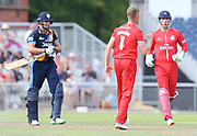Lancashires Keaton Jennings gets Derbyshires Calum MacLeod stumped by Lancashires Dane Vilas (Wicket Keeper) during the Vitality T20 Blast North Group match between Lancashire Lightning and Derbyshire Falcons at the Emirates, Old Trafford, Manchester, United Kingdom on 14 July 2018. Picture by George Franks.