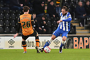 Brighton defender, full back, Inigo Calderon (14) up against Hull City defender Andrew Robertson (26)  during the The FA Cup match between Hull City and Brighton and Hove Albion at the KC Stadium, Kingston upon Hull, England on 9 January 2016. Photo by Ian Lyall.
