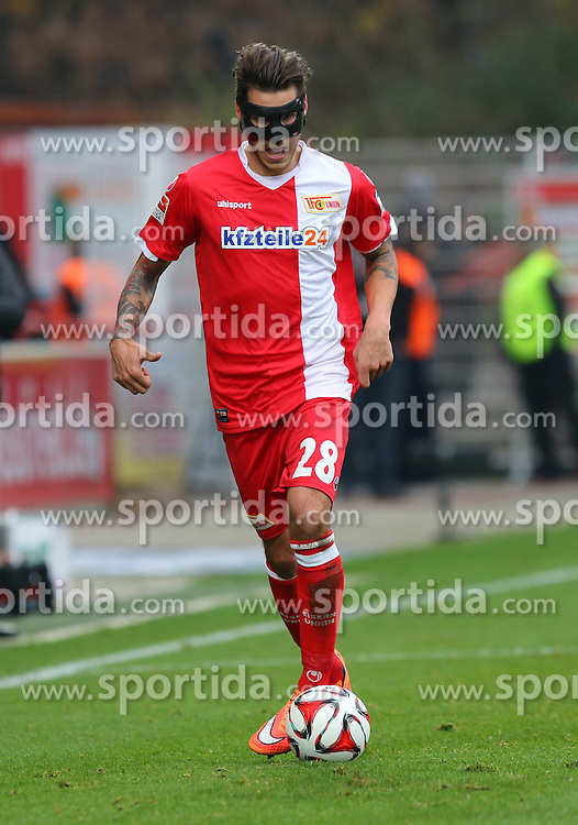 22.11.2014, Alte F&ouml;rsterei, Berlin, GER, 2. FBL, 1. FC Union Berlin vs TSV 1860 Muenchen, 14. Runde, im Bild Christopher Trimmel (1. FC Union Berlin) musste mit Maske spielen // SPO during the 2nd German Bundesliga 14th round match between 1. FC Union Berlin and TSV 1860 Muenchen at the Alte F&ouml;rsterei in Berlin, Germany on 2014/11/22. EXPA Pictures &copy; 2014, PhotoCredit: EXPA/ Eibner-Pressefoto/ Hundt<br /> <br /> *****ATTENTION - OUT of GER*****