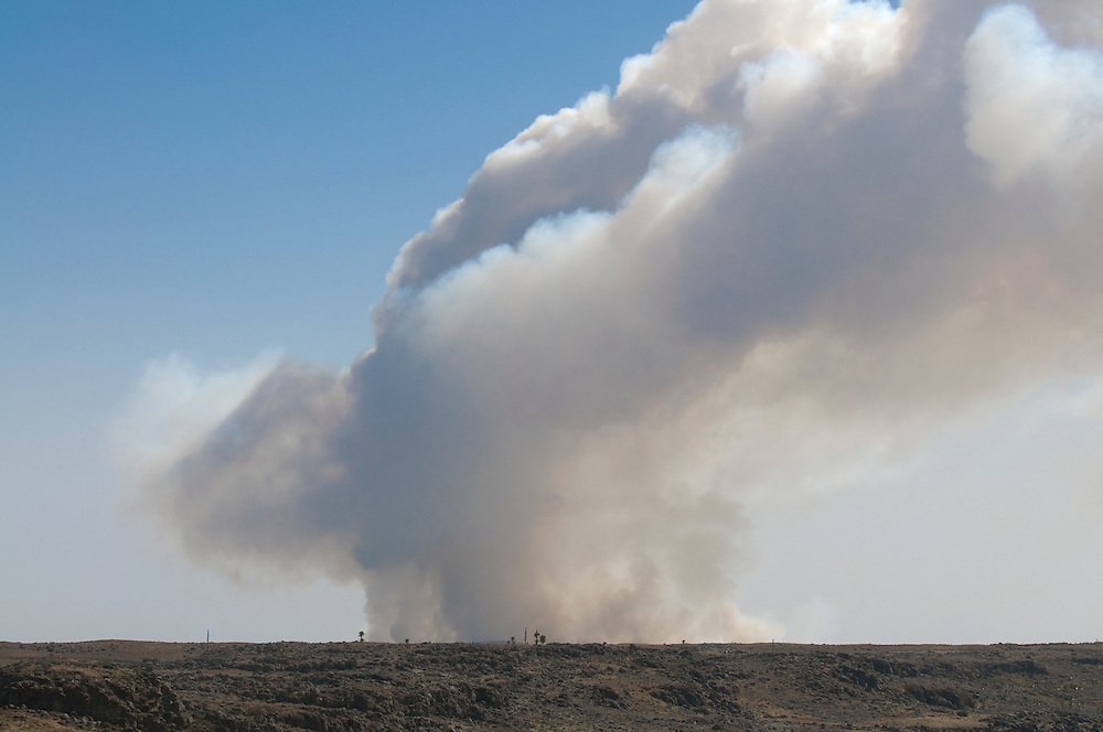 Giant smoke cloud from burning woods, Bale Mountains, Ethiopia,Africa