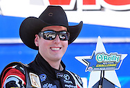 Nov. 7, 2009; Fort Worth, TX, USA; NASCAR Nationwide Series driver Kyle Busch celebrates after winning the O'Reilly Challenge at the Texas Motor Speedway. Mandatory Credit: Jennifer Stewart-US PRESSWIRE