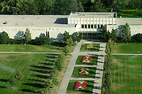 Royal Saskatchewan Museum, with front lawn and flowers beds, Regina
