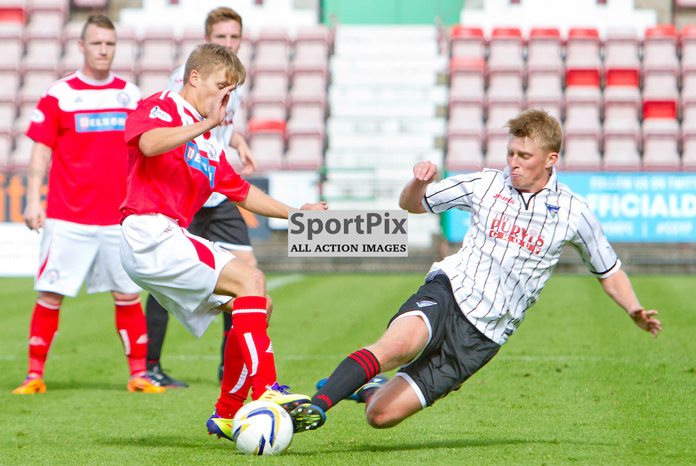 Dunfermline Athletic v Brechin City SPFL League One East End Park 09 August 2014<br /> <br /> Ross Drummond fouls Bobby Barr<br /> <br /> CRAIG BROWN | sportPix.org.uk