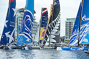 A race startr on day three of the Cardiff Extreme Sailing Series Regatta. 24/8/2014