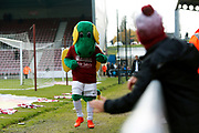 Northampton mascot and young fan before the EFL Sky Bet League 2 match between Northampton Town and Crewe Alexandra at the PTS Academy Stadium, Northampton, England on 16 November 2019.
