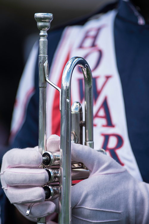 WASHINGTON,DC - October 7, 2017: A trumpet at the ready during the pregame show.<br /> Howard University's Showtime Marching Band is part of a long tradition of outstanding bands at HBCU's. The band practices in the days leading up to a home game against North Carolina Central. (Andr&eacute; Chung for The Undefeated)
