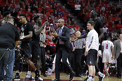 20 March 2017:  Knights celebrate during a College NIT (National Invitational Tournament) 2nd round mens basketball game between the UCF (University of Central Florida) Knights and Illinois State Redbirds in  Redbird Arena, Normal IL<br />