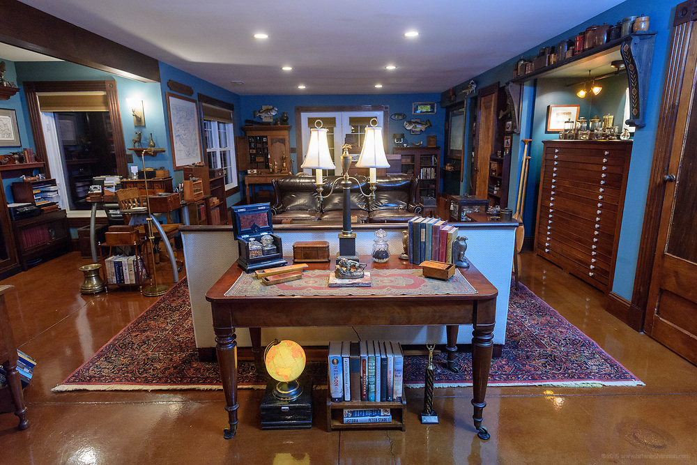 The David's office in the lower level of the home of Kristen and David Embry in Pendleton, Ky. Feb. 22, 2018