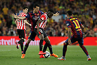Barcelona´s Sergio Busquets (L) and Athletic de Bilbao´s Inaki Williams Dannis during 2014-15 Copa del Rey final match between Barcelona and Athletic de Bilbao at Camp Nou stadium in Barcelona, Spain. May 30, 2015. (ALTERPHOTOS/Victor Blanco)