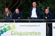 24-08-2015 VOETBAL: JONG WILLEM II-JONG FEYENOORD:TILBURG<br /> <br /> (VLNR) Mischa Rook, Carlos Aalbers, Trainer/Coach Jurgen STREPPEL van Willem II en Raymond Vissers<br /> <br /> Foto: Geert van Erven