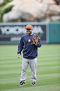 ANAHEIM, CA - APRIL 14:  Jose Altuve #27 of the Houston Astros looks on during batting practice before the game against the Los Angeles Angels of Anaheim on Sunday, April 14, 2013 at Angel Stadium in Anaheim, California. The Angels won the game 4-1. (Photo by Paul Spinelli/MLB Photos via Getty Images) *** Local Caption *** Jose Altuve
