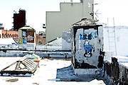a New York City Lower East Side roof top with graffiti