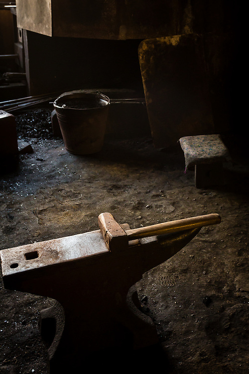 The anvil and hammer are always present at a traditional japanese sword forge. Traditional sword forges are normally considered sacred places in the Shinto religion of Japan, because the process of forging a sword is itself a mix of several rituals.