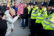 On the day that the UK was scheduled to leave the European Union and political parties commence campaigning for the General Election on December 12th, a Brexiter woman shouts at police officers as Brexiters voice their anger outside the British parliament in Westminster, on 31st October 2019,