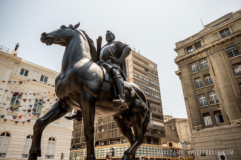 An equestrian statue of Don Pedro de Valdivia, the Spanish conquistador who founded Santiago in 1541, in Plaza de Armas in the center of Santiago de Chile.
