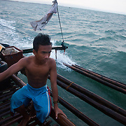 Joseph loves the sea in spite of his father almost drowned the year before when his boat went down in a big typhoon. Joseph is 17 and works like his father did on the sea as a fisherman. The catch of the day is hauled in by the entire crew to be sorted out on deck and taken straight to the market in Hinigaran. The catch that day made the crew $12.00 each( Captain Joan $24.00) One day a week Joseph goes to Alternative Learning schooling provided by Quidan-Kaisahan.  Quidan-Kaisahan is a charity working in Negros Occidental in the Philippines. Their aim is to keep children out of work to secure them education.