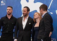 Aaron Taylor Johnson, director Tom Ford, Amy Adams and  Jake Gyllenhaal at Nocturnal Animals film photocall at the 73rd Venice Film Festival, Sala Grande on Friday September 2nd 2016, Venice Lido, Italy.