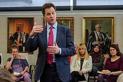 © Licensed to London News Pictures. 25/03/2015. London, UK Deputy Prime Minister and leader of the Liberal Democrats Nick Clegg takes part in a Mumsnet question and answer session at 30 Eutson Square. Photo credit : Stephen Simpson/LNP
