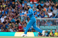 SYDNEY - NOVEMBER 25: Indian player Virat Kohli (c) throws the ball at the International Gillette T20 cricket match between Australia and India at The Sydney Cricket Ground in NSW on November 25, 2018. (Photo by Speed Media/Icon Sportswire)