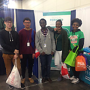 Westside High School students visit the Teach Forward Houston table at the 30th annual Houston Hispanic Forum Career and Education Day.