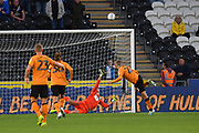 Blackburn Rovers goalkeeperr Christian Walton (1) saves penalty taken by Hull City player Jarrod Bowen (20) during the EFL Sky Bet Championship match between Hull City and Blackburn Rovers at the KCOM Stadium, Kingston upon Hull, England on 20 August 2019.