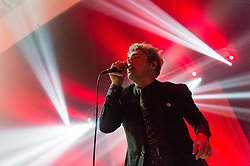© Licensed to London News Pictures. 23/01/2015. London, UK.   Gerard Way performing live at Brixton Academy.   In this picture - Gerard Way.  Gerard Way is an American musician and comic book writer who was the lead vocalist and co-founder of the band My Chemical Romance from its formation in September 2001 until its split in March 2013.  My Chemical Romance were associated with the 'emo' genre of rock music.   Photo credit : Richard Isaac/LNP