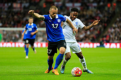 Enar Jaager of Estonia keeps Raheem Sterling of England off the ball - Mandatory byline: Jason Brown/JMP - 07966 386802 - 09/10/2015- FOOTBALL - Wembley Stadium - London, England - England v Estonia - Euro 2016 Qualifying - Group E