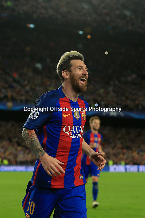 19th October 2016 - UEFA Champions League - Group C - FC Barcelona v Manchester City - Lionel Messi of Barcelona celebrates after scoring their 3rd goal - Photo: Simon Stacpoole / Offside.