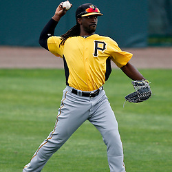 Mar 1, 2013; Sarasota, FL, USA; Pittsburgh Pirates center fielder Andrew McCutchen (22) in th field during the bottom of the third inning of a spring training game against the Baltimore Orioles at Ed Smith Stadium. Mandatory Credit: Derick E. Hingle-USA TODAY Sports