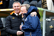 Hull City Manager Nigel Adkins greets Cardiff City Manager Neil Warnock   during the EFL Sky Bet Championship match between Hull City and Cardiff City at the KCOM Stadium, Kingston upon Hull, England on 28 April 2018. Picture by Mick Atkins.