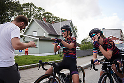 Kasia Niewiadoma (POL) and CANYON//SRAM Racing Physiotherapist, Lars Schiffner dance before Ladies Tour of Norway 2019 - Stage 2, a 131 km road race from Mysen to Askim, Norway on August 23, 2019. Photo by Sean Robinson/velofocus.com