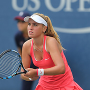 Sofia Kenin, USA, in action against Dalma Galfi, Hungary,  in the Junior Girls' Singles  Final during the US Open Tennis Tournament, Flushing, New York, USA. 13th September 2015. Photo Tim Clayton