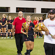 28 October 2016: The San Diego State Aztecs women's soccer team takes on the New Mexico Lobos to close out the regular season Friday night. www.sdsuaztecphotos.com
