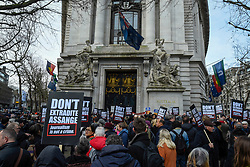 © Licensed to London News Pictures. 22/02/2020. LONDON, UK.  People outside Australia House in Aldwych ahead of a march to Parliament Square in support of Wikileaks founder Julian Assange.  The full extradition trial of Mr Assange begins in London on 24 February.  Photo credit: Stephen Chung/LNP