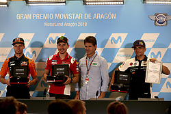 September 22, 2018 - Alcaniz, Teruel, Spain - Brad Binder (41) of Republic of South Africa and Red Bull KTM Ajo KTM, Jorge Lorenzo (99) of Spain and Ducati Team  and Jorge Martin (88) of Spain and Del Conca Gresini Moto3 during press conference after qualifying for the Gran Premio Movistar de Aragon of world championship of MotoGP at Motorland Aragon Circuit on September 22, 2018 in Alcaniz, Spain. (Credit Image: © Jose Breton/NurPhoto/ZUMA Press)