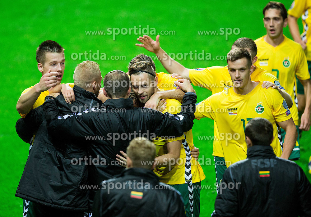 Players of Lithuania celebrate after scoring during penalty shot during the EURO 2016 Qualifier Group E match between Slovenia and Lithuania, on October 9, 2015 in SRC Stozice, Ljubljana Slovenia. Photo by Vid Ponikvar / Sportida
