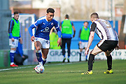 Chesterfield forward Jacob Brown (44) takes on Notts County defender Carl Dickinson (3)    during the EFL Sky Bet League 2 match between Chesterfield and Notts County at the Proact stadium, Chesterfield, England on 25 March 2018. Picture by Nigel Cole.