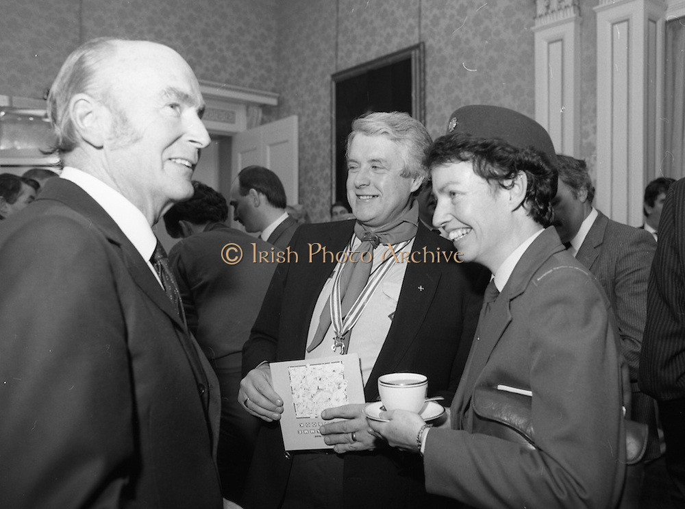 28/10/1985<br /> 10/28/1985<br /> 28 October 1985<br /> Launch of Gaisce The Presidents Award at Aras an Uachtarain. President Dr. Patrick Hillery launched the new national youth award scheme to be the nations highest award to Irish young people aged 15-25. Picture shows (l-r): President Hillery; Mr. Joseph Lawlor, Scout Commissioner, C.B.S.I. and National Commissioner Bridie Dolan, Catholic Guides of Ireland.