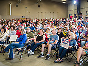 "15 JUNE 2019 - BOONE, IOWA: People listen to a speech by Senator Chuck Grassley (R-IA) during ""Joni's Roast and Ride,"" an annual motorcycle ride / barbecue fund raiser hosted by Sen. Joni Ernst. Ernst, Iowa's junior US Senator, kicked off her re-election campaign during the ""Roast and Ride"", an annual fund raiser and campaign event has she held since originally being elected to the US Senate in 2014.  PHOTO BY JACK KURTZ"